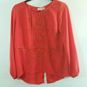 Altar'd State Coral Embroidered Cutout Top Blouse